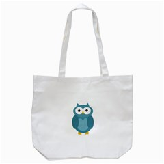 Cute Blue Owl Tote Bag (white) by Valentinaart