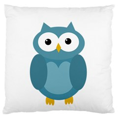 Cute Blue Owl Large Flano Cushion Case (two Sides) by Valentinaart