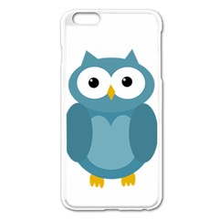Cute Blue Owl Apple Iphone 6 Plus/6s Plus Enamel White Case by Valentinaart