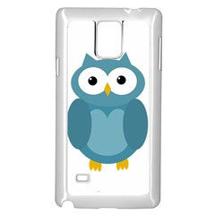 Cute Blue Owl Samsung Galaxy Note 4 Case (white) by Valentinaart