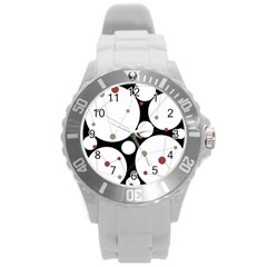 Decorative Circles Round Plastic Sport Watch (l) by Valentinaart