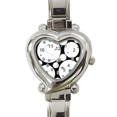 Decorative Circles   Blue Heart Italian Charm Watch by Valentinaart