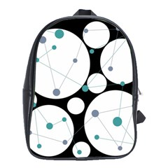 Decorative Circles   Blue School Bags(large)  by Valentinaart