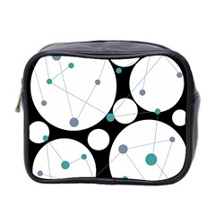 Decorative Circles   Blue Mini Toiletries Bag 2 Side by Valentinaart