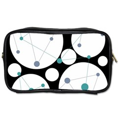 Decorative Circles   Blue Toiletries Bags by Valentinaart
