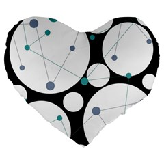 Decorative Circles   Blue Large 19  Premium Flano Heart Shape Cushions by Valentinaart