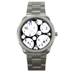 Decorative Circles   Purple Sport Metal Watch by Valentinaart