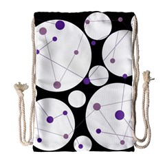 Decorative Circles   Purple Drawstring Bag (large) by Valentinaart