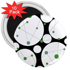Decorative Circles   Green 3  Magnets (10 Pack)  by Valentinaart