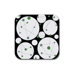 Decorative Circles   Green Rubber Square Coaster (4 Pack)  by Valentinaart