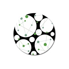 Decorative Circles   Green Magnet 3  (round) by Valentinaart