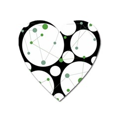Decorative Circles   Green Heart Magnet by Valentinaart
