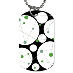 Decorative Circles   Green Dog Tag (one Side) by Valentinaart