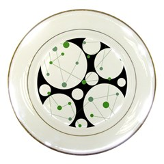 Decorative Circles   Green Porcelain Plates by Valentinaart