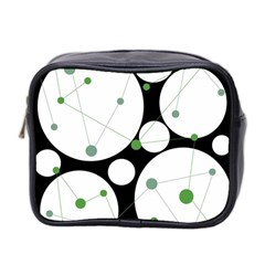Decorative Circles   Green Mini Toiletries Bag 2 Side by Valentinaart