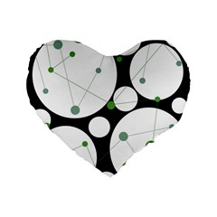 Decorative Circles   Green Standard 16  Premium Flano Heart Shape Cushions by Valentinaart