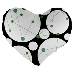 Decorative Circles   Green Large 19  Premium Flano Heart Shape Cushions by Valentinaart