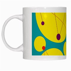 Yellow And Green Decorative Circles White Mugs by Valentinaart