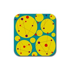 Yellow And Green Decorative Circles Rubber Coaster (square)  by Valentinaart