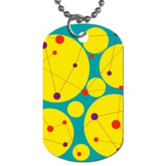 Yellow And Green Decorative Circles Dog Tag (two Sides) by Valentinaart