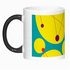 Yellow And Green Decorative Circles Morph Mugs by Valentinaart