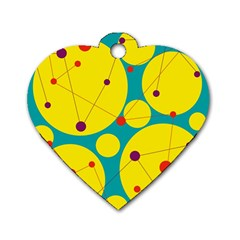 Yellow And Green Decorative Circles Dog Tag Heart (two Sides) by Valentinaart