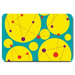 Yellow And Green Decorative Circles Large Doormat  by Valentinaart