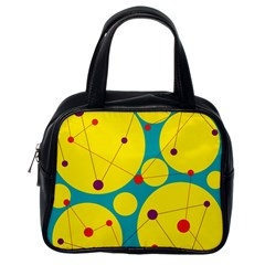 Yellow And Green Decorative Circles Classic Handbags (one Side) by Valentinaart