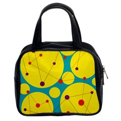 Yellow And Green Decorative Circles Classic Handbags (2 Sides) by Valentinaart