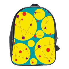 Yellow And Green Decorative Circles School Bags(large)  by Valentinaart