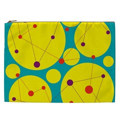 Yellow And Green Decorative Circles Cosmetic Bag (xxl)  by Valentinaart