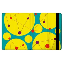 Yellow And Green Decorative Circles Apple Ipad 2 Flip Case by Valentinaart