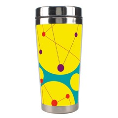 Yellow And Green Decorative Circles Stainless Steel Travel Tumblers by Valentinaart