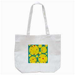 Yellow And Green Decorative Circles Tote Bag (white) by Valentinaart