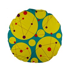Yellow And Green Decorative Circles Standard 15  Premium Flano Round Cushions by Valentinaart