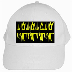 Yellow Abstract Pattern White Cap by Valentinaart