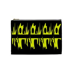 Yellow Abstract Pattern Cosmetic Bag (medium)  by Valentinaart