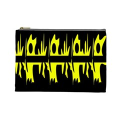 Yellow Abstract Pattern Cosmetic Bag (large)  by Valentinaart