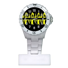 Yellow Abstract Pattern Plastic Nurses Watch by Valentinaart