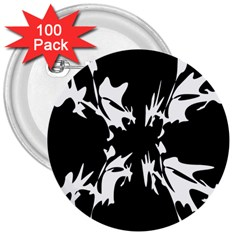 Black And White Pattern 3  Buttons (100 Pack)  by Valentinaart