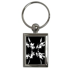 Black And White Pattern Key Chains (rectangle)  by Valentinaart