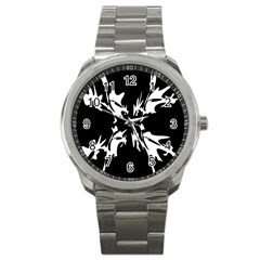Black And White Pattern Sport Metal Watch by Valentinaart