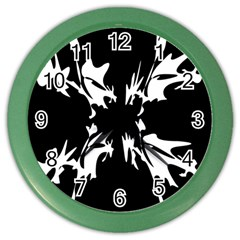 Black And White Pattern Color Wall Clocks by Valentinaart
