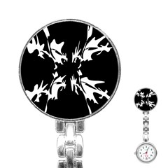 Black And White Pattern Stainless Steel Nurses Watch by Valentinaart