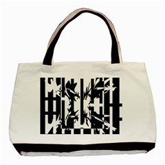Black And White Abstraction Basic Tote Bag by Valentinaart