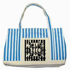 Black And White Abstraction Striped Blue Tote Bag by Valentinaart