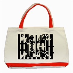 Black And White Abstraction Classic Tote Bag (red)