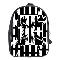 Black And White Abstraction School Bags(large)  by Valentinaart