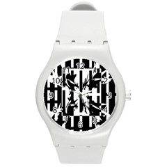 Black And White Abstraction Round Plastic Sport Watch (m) by Valentinaart