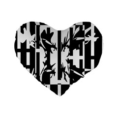 Black And White Abstraction Standard 16  Premium Heart Shape Cushions